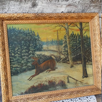 DEER OIL PAINTING, Oil in Canvas Framed, Gold Painted Wooden Frame, Estate Find, Under Glass, Woods and Winter Scene, Signed, Cabin Decor