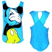 Disneys Teen/Junior Fashion Tank Top Mickey Mouse Peek, S, Neon Blue