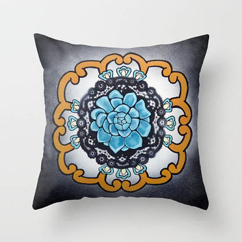 Turquoise Succulent Cactus Mandala pillow, soft decorative throw pillow cover, 18 x 18, meditation pillow, yoga studio, home decor, Mexican