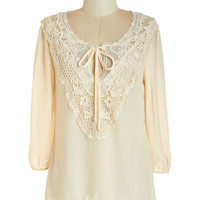 ModCloth Boho Mid-length 3 Lifelong Romantic Top in Pearl