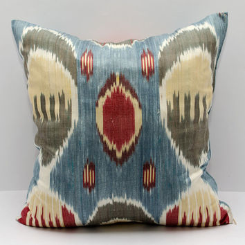 15x15 ikat pillow cover, cushion, pillow case, cushion cover pillowcase, red cream blue sofa pillow, decorative pillow, design pillow