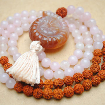 Rose Quartz, Rudraksha & Agate Mala Bead Necklace, Yoga Jewelry, Meditation, Pink Brown, Prayer Beads, Tassel Necklace, Bohemian Jewelry