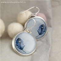 Spring Fashion Elegant Earrings with a Feather  by Nechegonadet