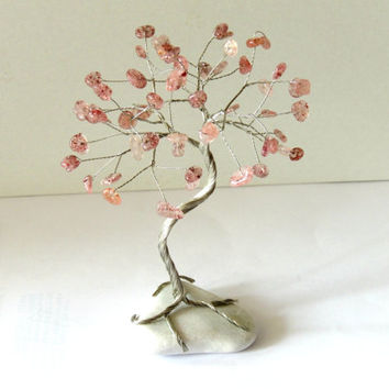 Wire tree,Strawberry quartz tree,Wire tree of life,wire tree sculpture,Beaded tree,Gem tree,Gemstone tree