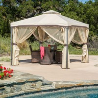 10Ft x 10Ft Steel Frame Gazebo with Polyester Canopy & Screen in Beige