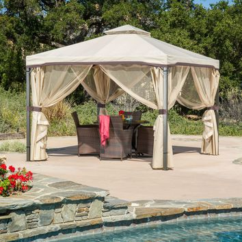 10Ft x 10Ft Steel Frame Gazebo with Polyester Canopy and Screen in Beige