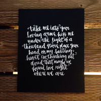 Thinking Out Loud - Ed Sheeran Lyrics - Valentine's Day Present - Anniversary - Boyfriend Girlfriend - Silver/Gold Ink Modern Calligraphy