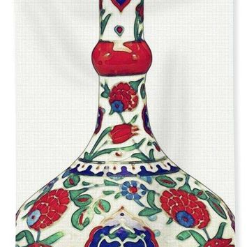 An Ottoman Iznik Style Floral Design Pottery Polychrome, By Adam Asar, No 5a - Bath Towel