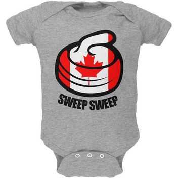DCCKU3R Winter Sports Flag Curling Sweep Sweep Canada Soft Baby One Piece