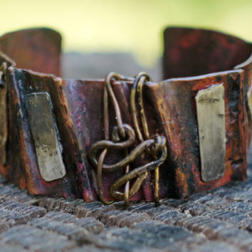 Ancient Style Copper Wrist Cuff, Forged Bracelet, Ridges, Mixed Metal- Sterling Silver and Brass Accents, Unisex