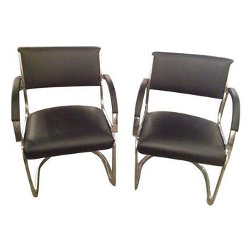 Pre-owned  Vintage Black Vinyl Guest Chairs with Chrome