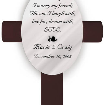 Personalized Oval Wedding Cross - B2 This Day Poem
