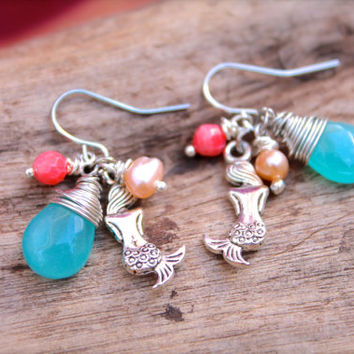 Mermaid Jewelry made in Hawaii Hawaiian Jewelry for Beach Brides, Mermaid Earrings, Ocean Inspired