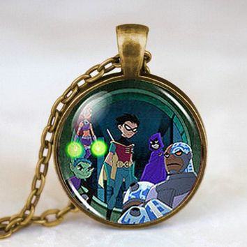 New Steampunk Drama Teen Titans Raven Cyborg Beast Boy Robin Starfire Pendant Necklace doctor who 1pcs/lot women chain mens 2016