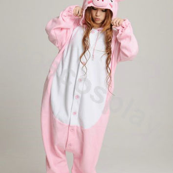 KIGURUMI Animal Pajamas Pyjamas Costume Onesuit Adult / Kid SLOTH-pink pig