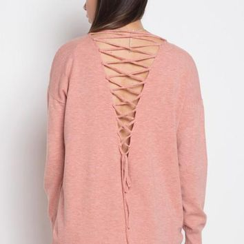 Lace Back Sweater Top