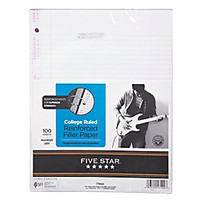Five Star XL Reinforced Filler Paper 8 12 x 11 College Ruled Pack Of 100 Sheets by Office Depot