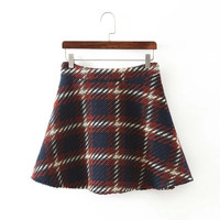 Plaid A-Line Knitted Skirt