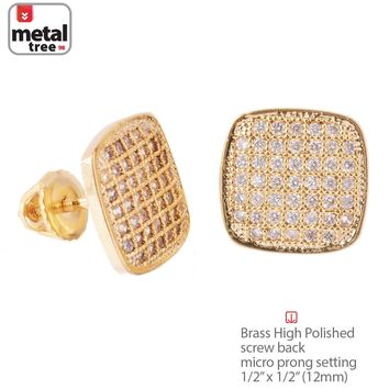 Jewelry Kay style Men's 14K Gold Plated Flat Dome Square Screw Back Stud Pave Earrings BE 047 G