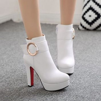 New Women White Round Toe Chunky Zipper Casual Ankle Boots