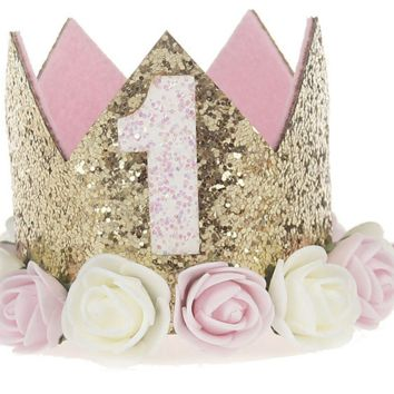1st Birthday Cake Smash Glitter Crown Baby Prop Hat (Several Styles) - CCHT182