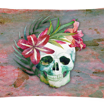 Day of the Dead Skull Flowers Canvas Fabric Decorative Pillow BB5125PW1216