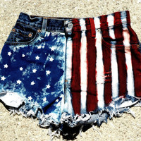 American Flag High Waisted Vintage Jean Shorts