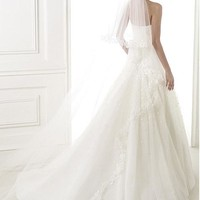 [499.98] Exquisite Organza A-line Strapless Neckline Natural Waistline Wedding Dress - Dressilyme.com