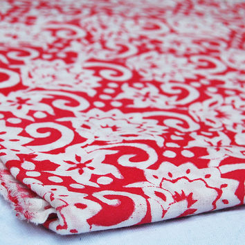 Abstract Design Indian Hand Printed Cotton Fabric  Fabric By The Yard Red dye Pure Cotton Fabric Multi Purpose For Making Shirt/Dress