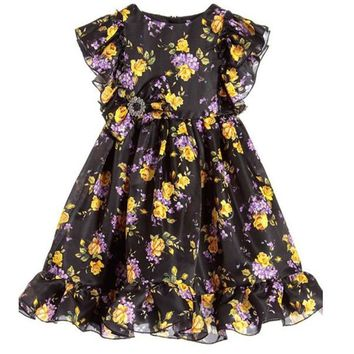 Girls Dress 2017 Print Floral Style Elegant Party Dress Luxury Vintage Dresses Ruffles Pattern Fashion Clothes Children Costume