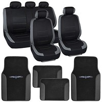 Zone Tech Flat Cloth Univerisal Car Seat Covers 2 Front Bucket Covers and 1 Solid Bench Cover Black Color