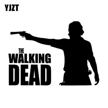 YJZT 16.6cm*11.7cm Interesting Zombie The WALKING DEAD Decal Vinyl Truck Car Window Sticker Black/Silver S8-1052