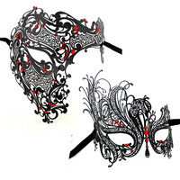 Black Gold Silver Red Skeleton Men Woman Scary Venetian Masquerade Couple Mask Half Skull Metal Halloween Costume Party Mask Lot