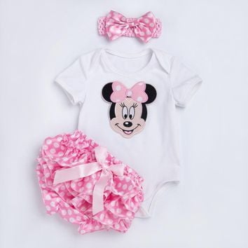 YK&Loving Polka Dot baby Rompers Outfits Sets Summer Style Cotton Cute Mouse Jumpsuit Ruffles Bloomer Newborn Baby Girl Clothes