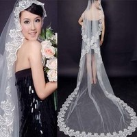"New 3m Lacework 118"" Graceful Flower Edge Mantilla Wedding Part Dress Bride Veil"