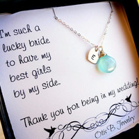 Personalized Bridesmaid Gift, silver initial & birthstone necklace, Bridesmaid thank you cards, bridal jewelry, wedding jewelry