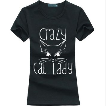 Crazy Cat Lady Printed T-Shirts - Ladies Crew Novelty Tee