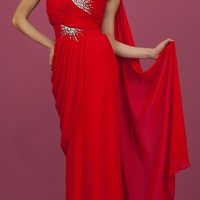CLEARANCE - Red Greek One Shoulder Dress Chiffon Grecian Gown (Size 6)
