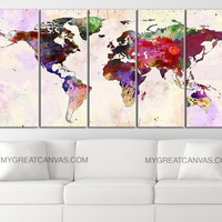 Large Wall Art Canvas Print Colorful World Map - Paint Splash World Map Framed Giclee Map Canvas - Watercolor World Map - MC45