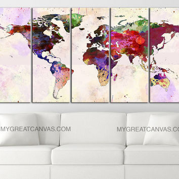 Large wall art running wild horses canvas from mycanvasprint large wall art canvas print colorful world map paint splash world map framed giclee map gumiabroncs Gallery