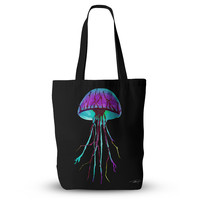 "Ivan Joh ""Night Of Jellyfish"" Black Purple Everything Tote Bag"
