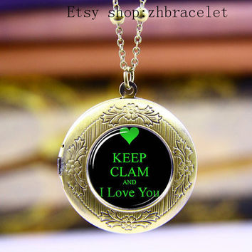 Necklace,Photo Locket necklace, Keep Clam and I Love you  Locket  Necklace ,Vintage necklace,
