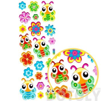 Colorful Cartoon Butterflies and Flowers Shaped Puffy Stickers for Kids