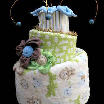Baby Boy Topsy Turvy Diaper Cake Made to Order by babyblossomco