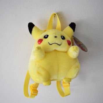 Pokemon Pikachu Stuffed Animal Plushie Backpack Bag // NEW w ORIGINAL Tag // Pop Culture, Nintendo Collector's Memorabilia // Club Kid Raver