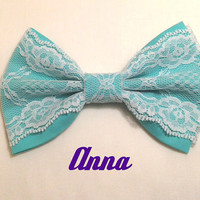 Tiffany's Blue With White Lace Fabric Bow