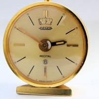 Vintage Jaeger LeCoultre 8 Days Recital Alarm Desk Table Clock Day Night Phases