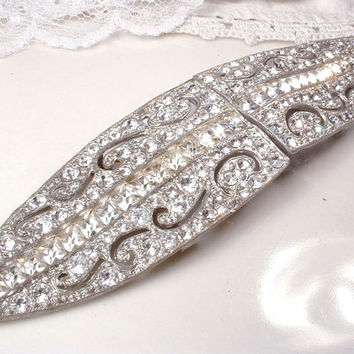 Antique Sash Buckle Original 1920s Rhinestone Bridal Sash Belt Pave Crystal Great Gatsby Wedding Accessory Vintage Old Hollywood Long Brooch