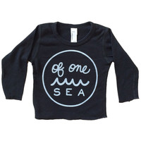 Infant Black Baby Thermal Long Sleeve T-Shirt with logo in Ash