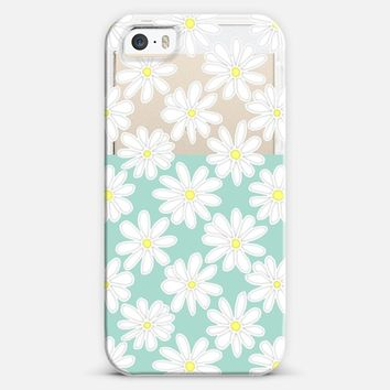 Bright Daisies on Mint & Transparent iPhone 5s case by Micklyn Le Feuvre | Casetagram
